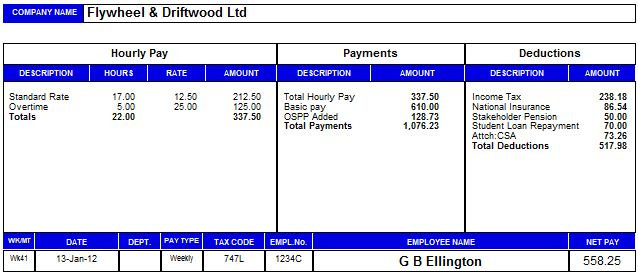 Free Uk Payslip Template Download. Brilliant Payslip Template Sample With  Blue White Table ...  Payslip Format In Excel Free Download