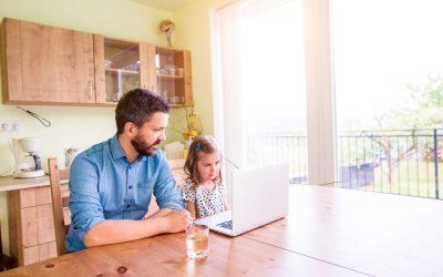 Man & Daughter using laptop