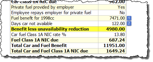 car fuel benefit calculation