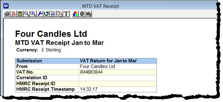 MTD VAT receipt